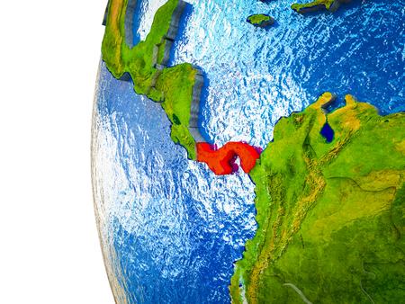 Panama highlighted on 3D Earth with visible countries and watery oceans. 3D illustration.