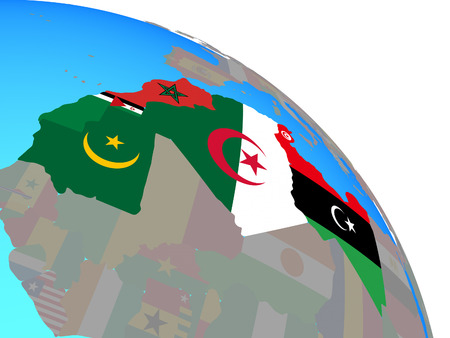 Maghreb region with national flags on simple blue political globe. 3D illustration. Фото со стока