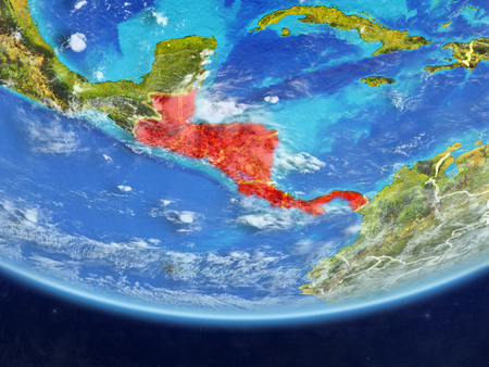 Central America on realistic model of planet Earth with country borders and very detailed planet surface and clouds. 3D illustration.