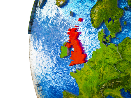 United Kingdom highlighted on 3D Earth with visible countries and watery oceans. 3D illustration.