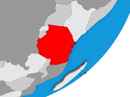 Tanzania on blue political 3D globe. 3D illustration.