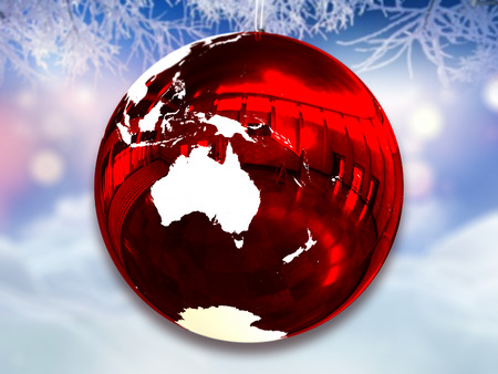 Australia on red shiny Chrismas on frosty background. 3D illustration.