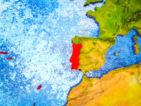 Portugal on model of 3D Earth with blue oceans and divided countries. 3D illustration. Reklamní fotografie