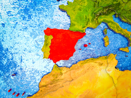 Spain on model of 3D Earth with blue oceans and divided countries. 3D illustration.
