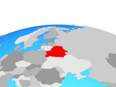 Belarus on political globe. 3D illustration.
