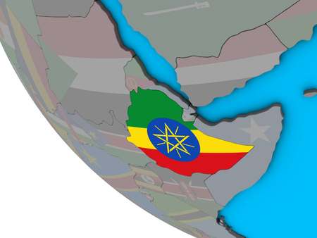 Ethiopia with embedded national flag on simple 3D globe. 3D illustration. Stock Photo