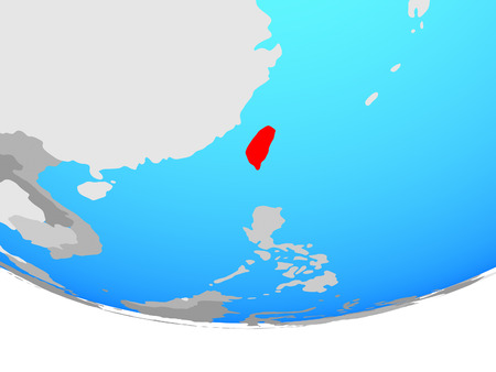 Taiwan on simple political globe. 3D illustration.