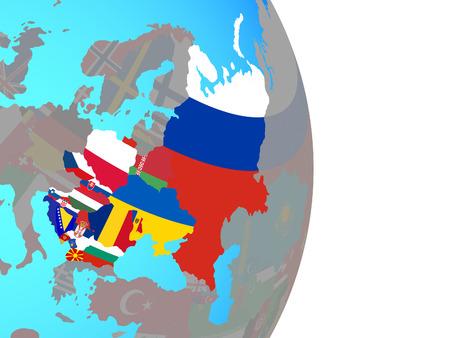 Eastern Europe with national flags on simple political globe. 3D illustration. Reklamní fotografie