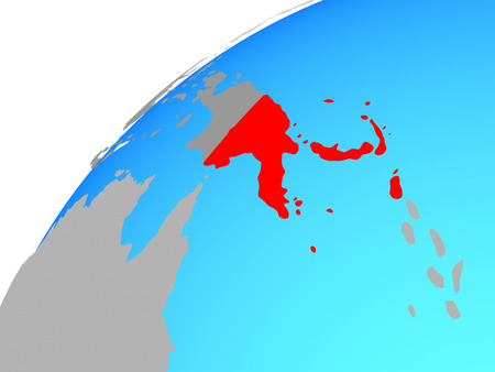 Papua New Guinea on globe. 3D illustration.