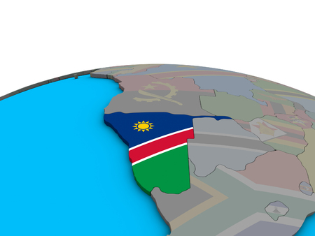 Namibia with embedded national flag on political 3D globe. 3D illustration.
