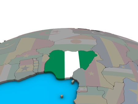 Nigeria with embedded national flag on political 3D globe. 3D illustration. Stock Photo