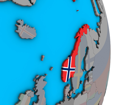 Norway with embedded national flag on simple political 3D globe. 3D illustration. Stock Photo