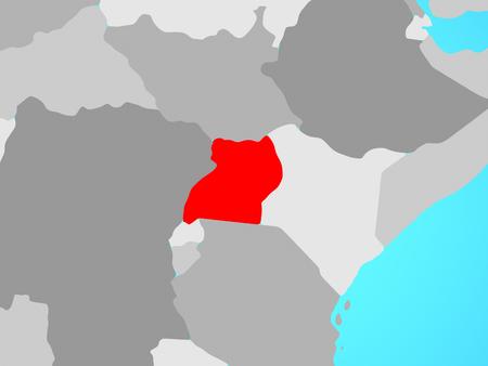 Uganda on blue political globe. 3D illustration. Stockfoto