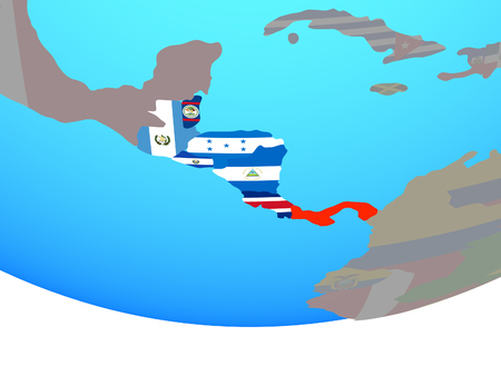 Central America with national flags on simple political globe. 3D illustration. Banco de Imagens