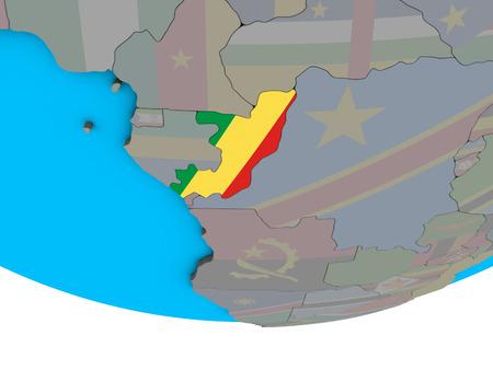 Congo with embedded national flag on simple political 3D globe. 3D illustration. Standard-Bild - 112361786