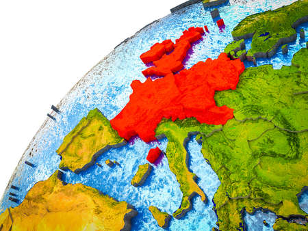 Western Europe on 3D Earth model with visible country borders. 3D illustration. Banco de Imagens
