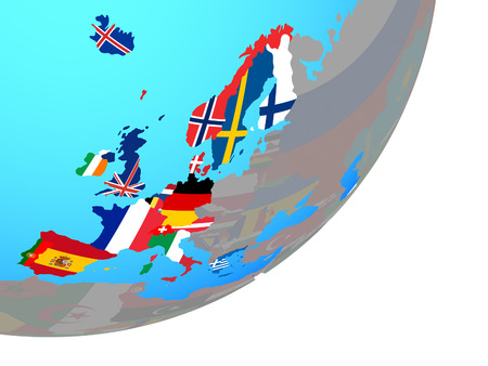 Western Europe with embedded national flags on blue political globe. 3D illustration.