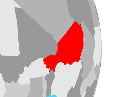 Niger on simple political globe. 3D illustration.