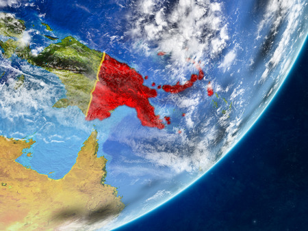 Papua New Guinea on model of planet Earth with country borders and very detailed planet surface and clouds. 3D illustration. Stock Photo