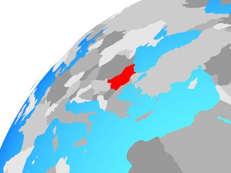Bulgaria on globe. 3D illustration. Stock Photo