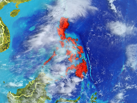 Philippines from space on model of planet Earth with country borders. Extremely fine detail of planet surface and clouds. 3D illustration.