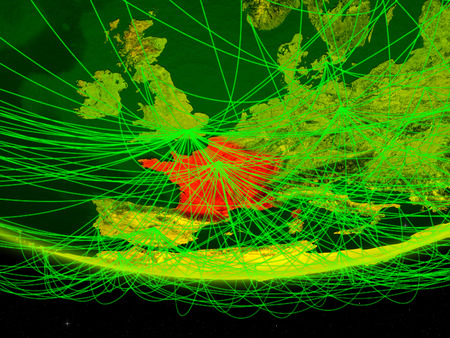 France on green model of planet Earth with network representing digital age, travel and communication. 3D illustration.