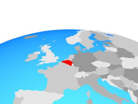 Belgium on political globe. 3D illustration. Imagens