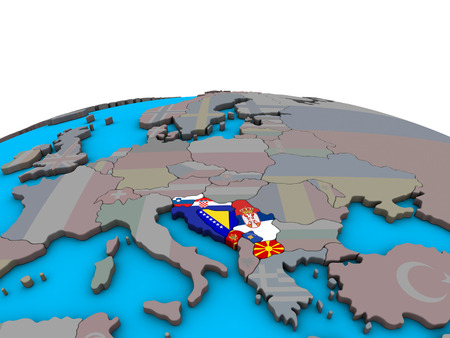 Former Yugoslavia with embedded national flags on political 3D globe. 3D illustration.