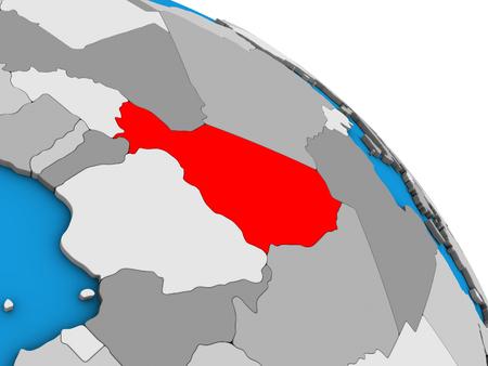 Niger on simple blue political 3D globe. 3D illustration.