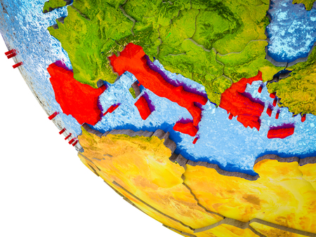 Southern Europe on model of Earth with country borders and blue oceans with waves. 3D illustration.