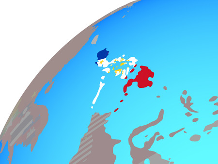 Philippines with embedded national flag on globe. 3D illustration. Фото со стока