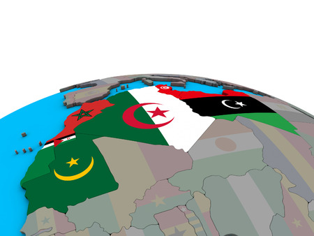 Maghreb region with embedded national flags on political 3D globe. 3D illustration.