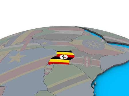 Uganda with embedded national flag on political 3D globe. 3D illustration.