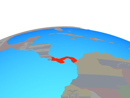 Panama with national flag on political globe. 3D illustration.