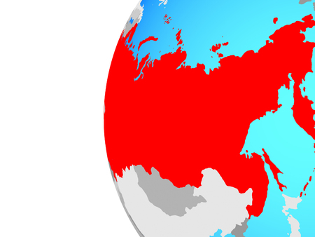 Soviet Union on blue political globe. 3D illustration.