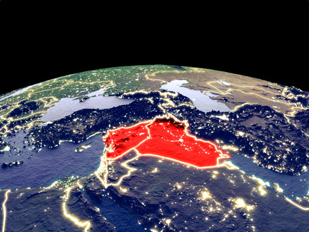Islamic State from space on planet Earth at night with bright city lights. Detailed plastic planet surface with real mountains. 3D illustration.