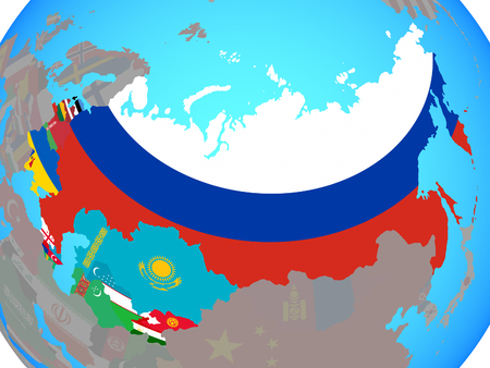 Former Soviet Union with national flags on blue political globe. 3D illustration. Stock Photo