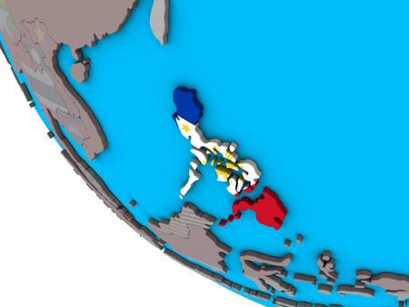 Philippines with embedded national flag on simple 3D globe. 3D illustration.