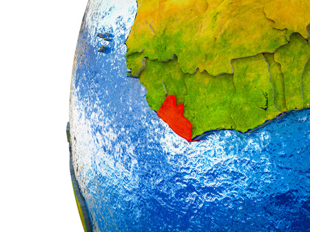 Liberia highlighted on 3D Earth with visible countries and watery oceans. 3D illustration.