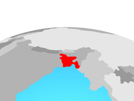 Bangladesh on political globe. 3D illustration. Stock Photo