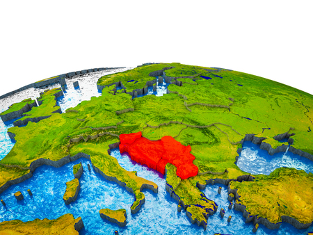 Former Yugoslavia on 3D Earth with visible countries and blue oceans with waves. 3D illustration.