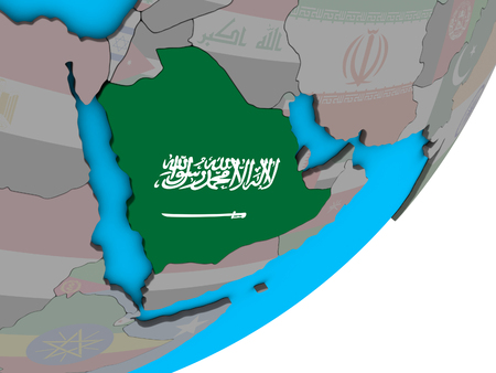 Saudi Arabia with national flag on blue political 3D globe. 3D illustration. Stock Photo