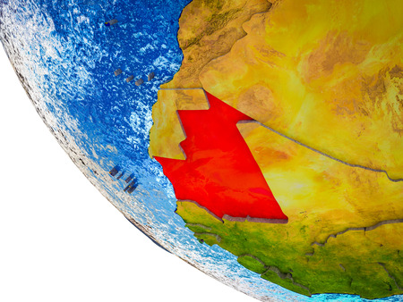 Mauritania on model of Earth with country borders and blue oceans with waves. 3D illustration.