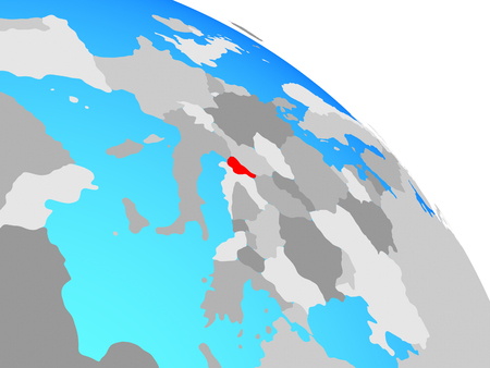 Slovenia on simple blue political globe. 3D illustration. Imagens
