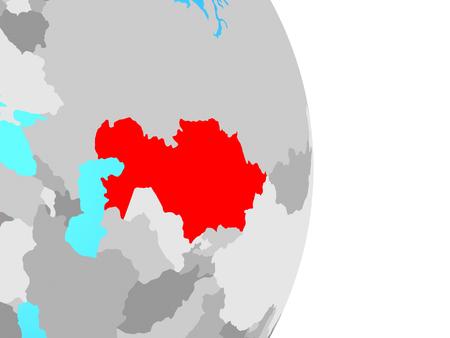 Kazakhstan on simple political globe. 3D illustration.