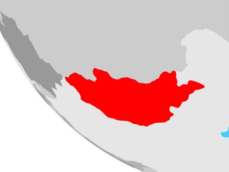 Mongolia on simple globe. 3D illustration. Stockfoto