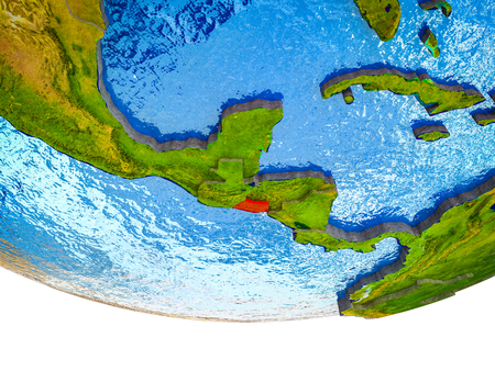 El Salvador on 3D Earth with divided countries and watery oceans. 3D illustration.