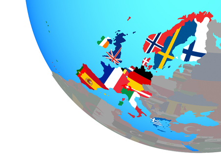 Western Europe with national flags on simple globe. 3D illustration. Banco de Imagens