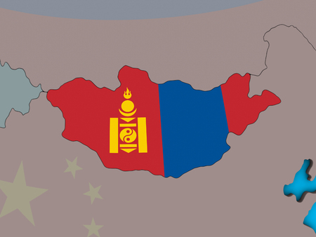Mongolia with embedded national flag on blue political 3D globe. 3D illustration. 写真素材