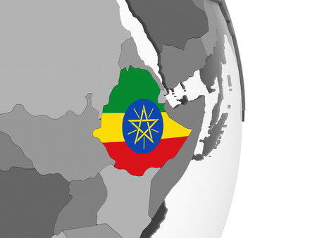 Ethiopia on gray political globe with embedded flag. 3D illustration. Stock Photo